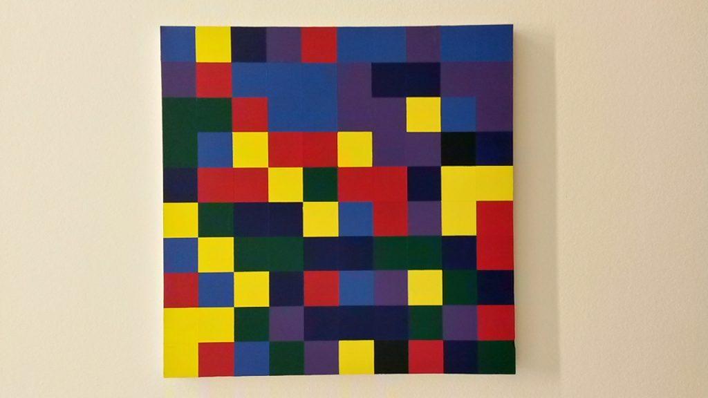 100 carrés aléatoirement bleu, cyan, jaune, magenta, vert, violet, 2014, @ArtInVar