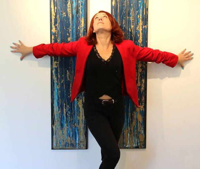 Aurélie Magnoni devant un diptype @Claude Serra