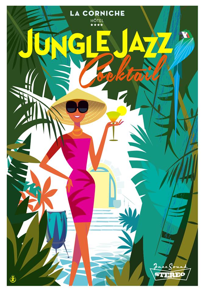 Illustration pour l'évènement estival Jungle Jazz à l'Hôtel La Corniche à Toulon